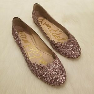 Sam Edelman Alaine Pink Scalloped Glitter Flats
